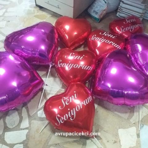 Kalplli Uçan Balon Tane